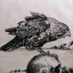 Hannah-Amelia KingThinking Perch 2020 vision, 2020Drypoint, etching on awagami paper - mm 173x146